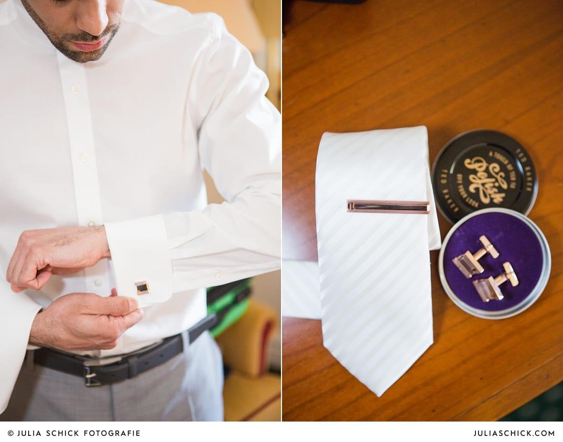 Getting Ready des bräutigams bei Hochzeit auf Sportschloss Velen