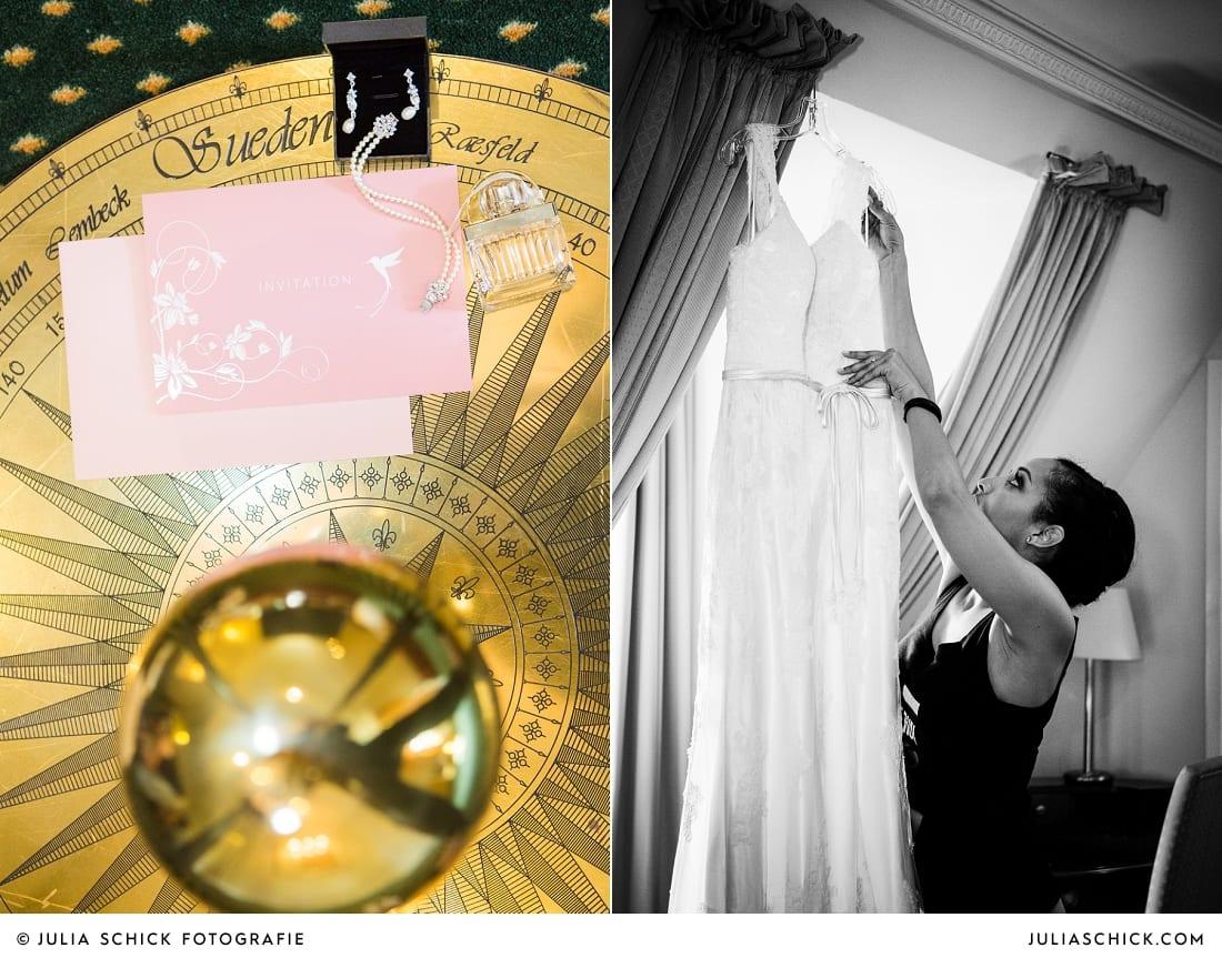 Hochzeitseinladung und Schmuck der Braut, Getting Ready der Braut auf Sportschloss Velen