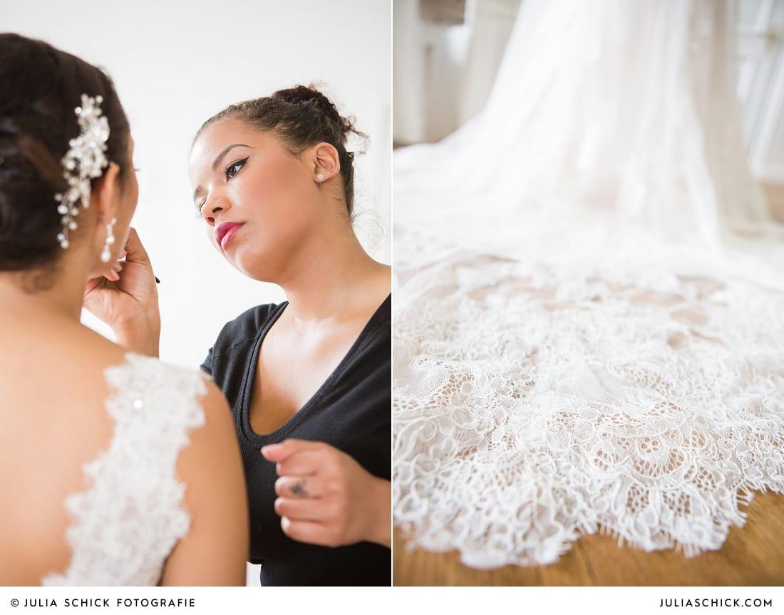 Getting Ready der Braut standesamtlicher Trauung auf Sportschloss Velen im weißen Saal der Orangerie