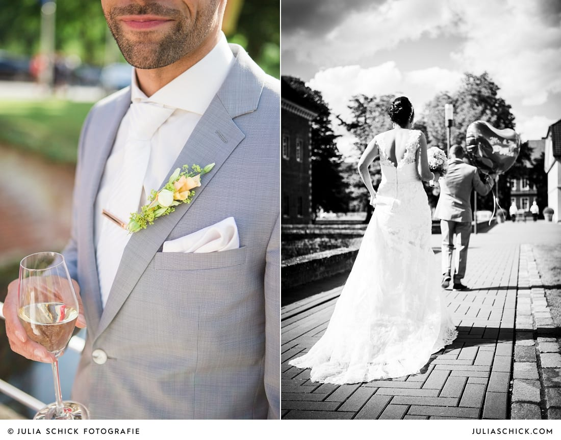 Anstecker am Revers der Bräutigams