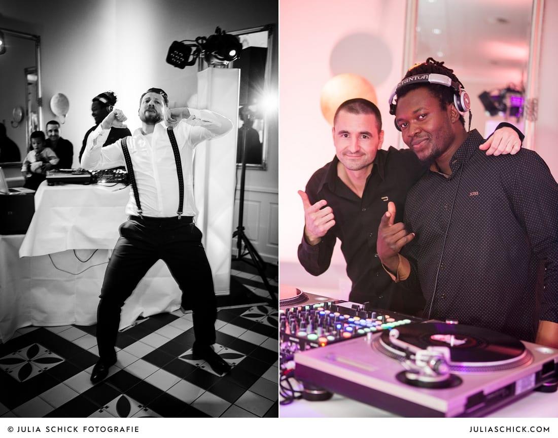 DJ's und tanzender Gast bei Hochzeitsfeier in der Remise des SportSchloss Velen