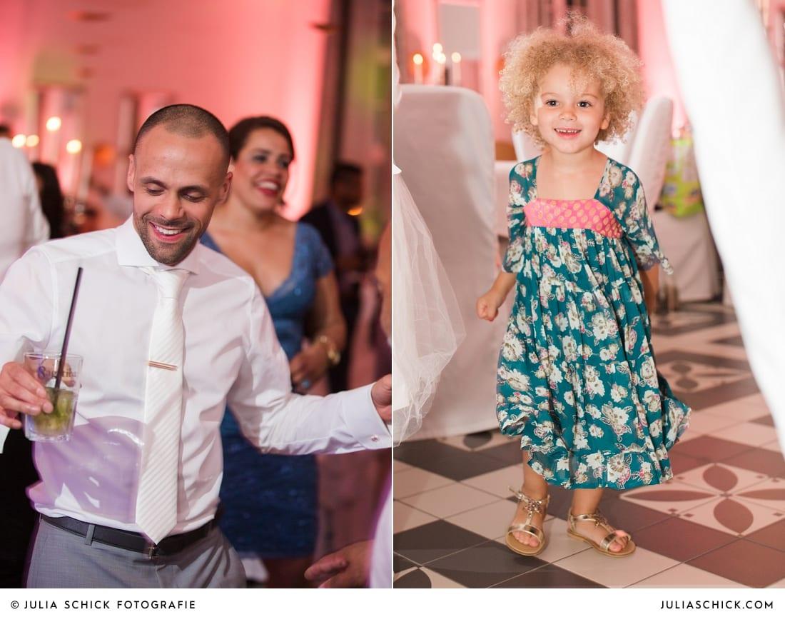 Tanzender Bräutigam und Kind bei Hochzeitsfeier in der Remise des SportSchloss Velen