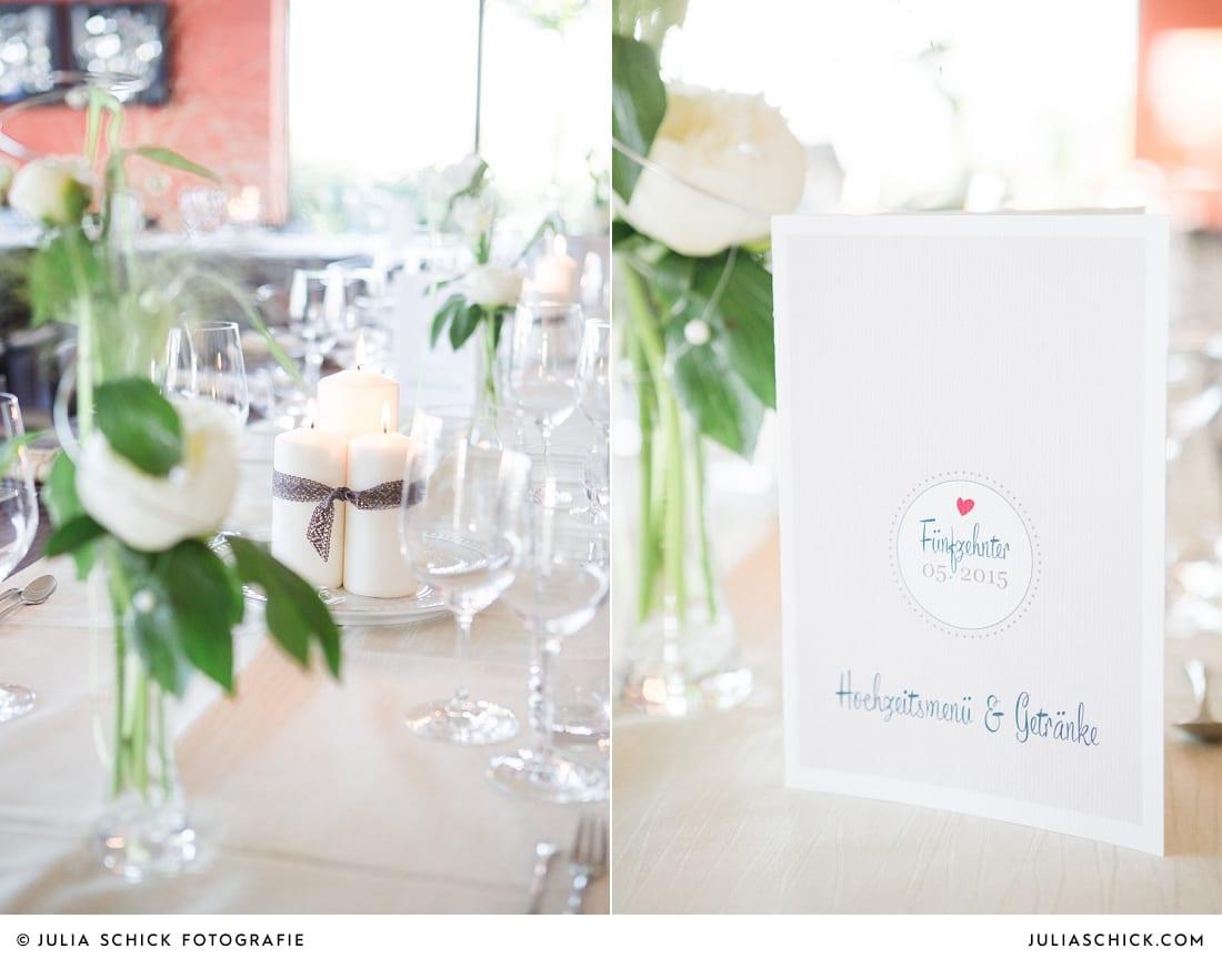 Hochzeitsdekoration, Menükarte
