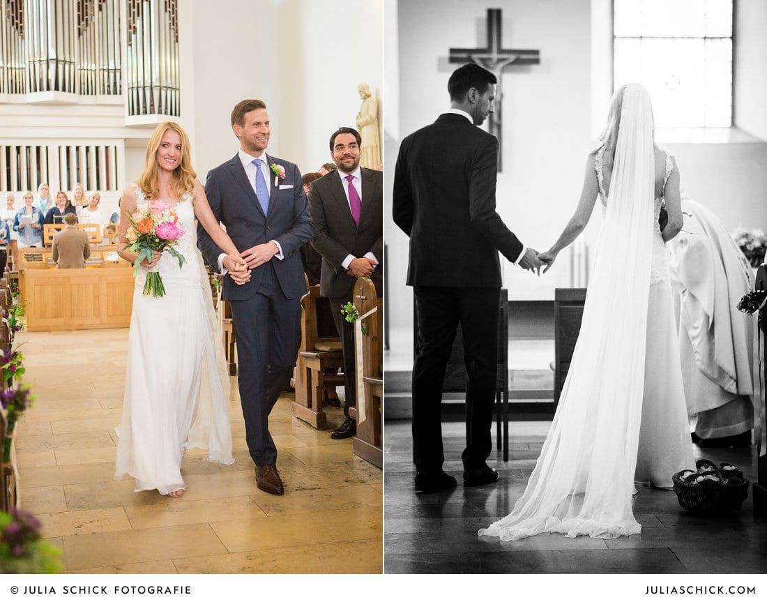 Einzug des Brautpaares zur kirchlichen Hochzeit in der Kirche St. Mariä Himmelfahrt in Ahaus Alstätte