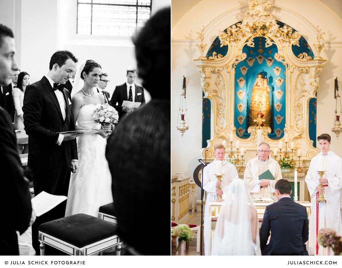 Brautpaar vor dem Altar in der Dyckburgkirche in Münster Handorf