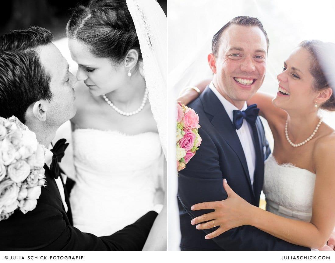 Brautpaar bei Hochzeitsfotoshooting an der Werse auf dem Hof zur Linde