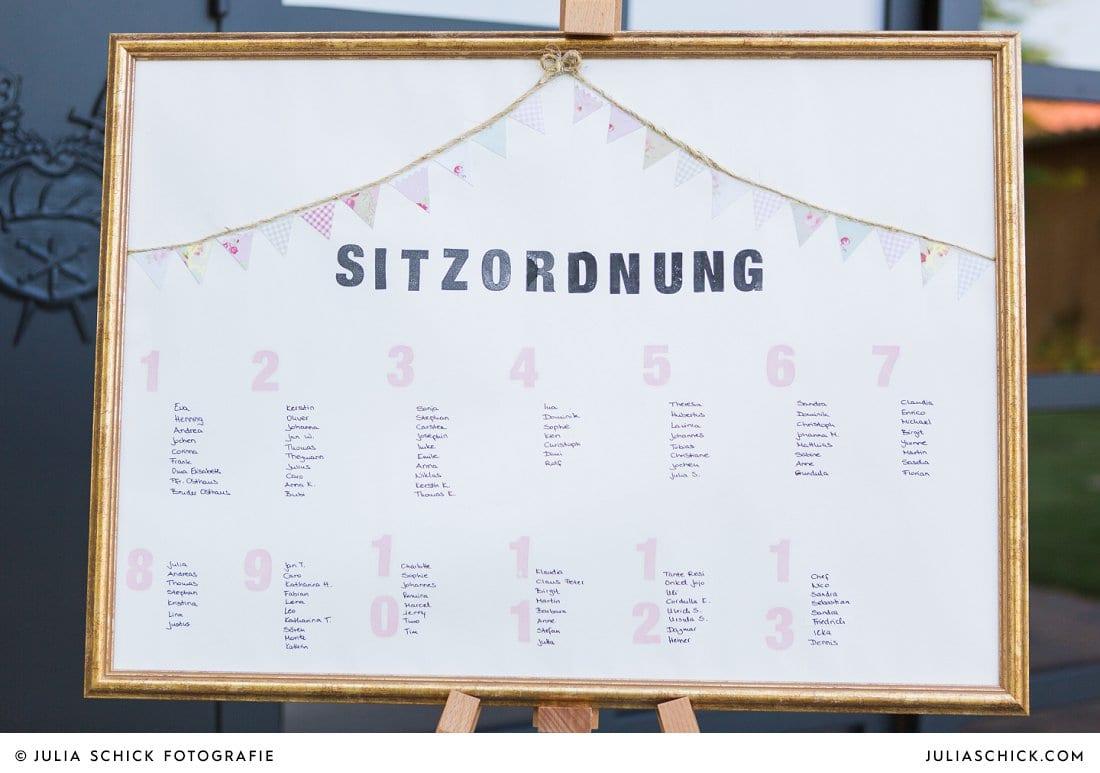Sitzplan bei Hochzeit im Hof zur Linde Münster