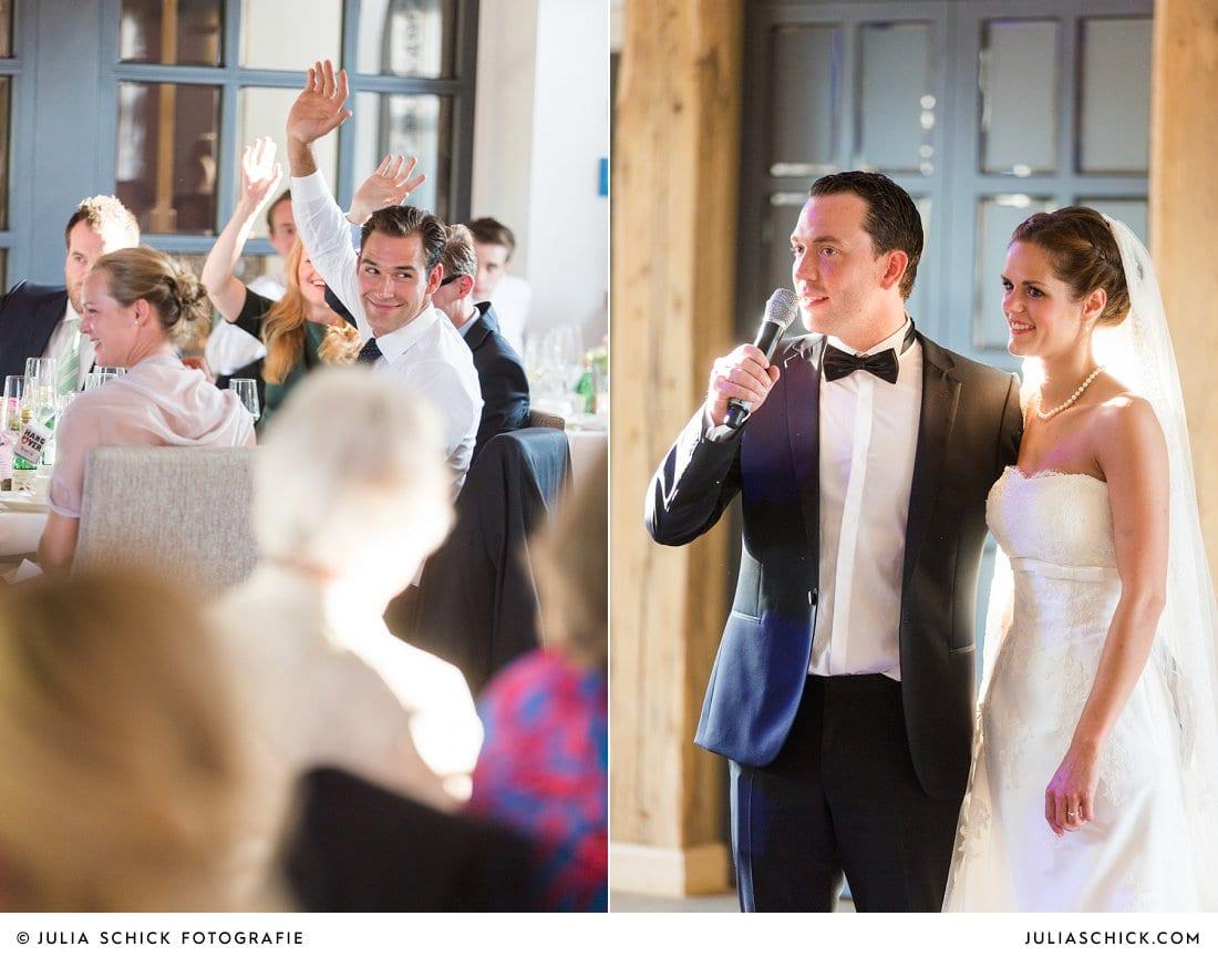 Rede des Brautpaares bei Hochzeit im Hof zur Linde Münster