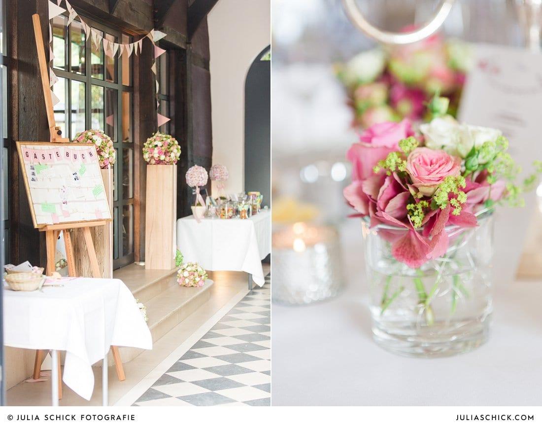 Hochzeitsdekoration von Blumen Dahlmann bei Hochzeit im Torhaus des Hof zur Linde Münster