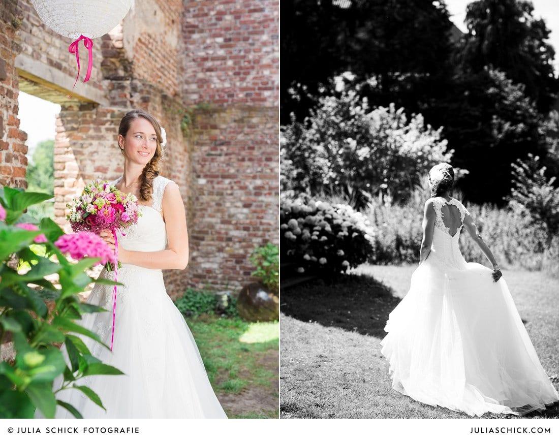 Braut an und in der Schlossruine Hertefeld in Weeze
