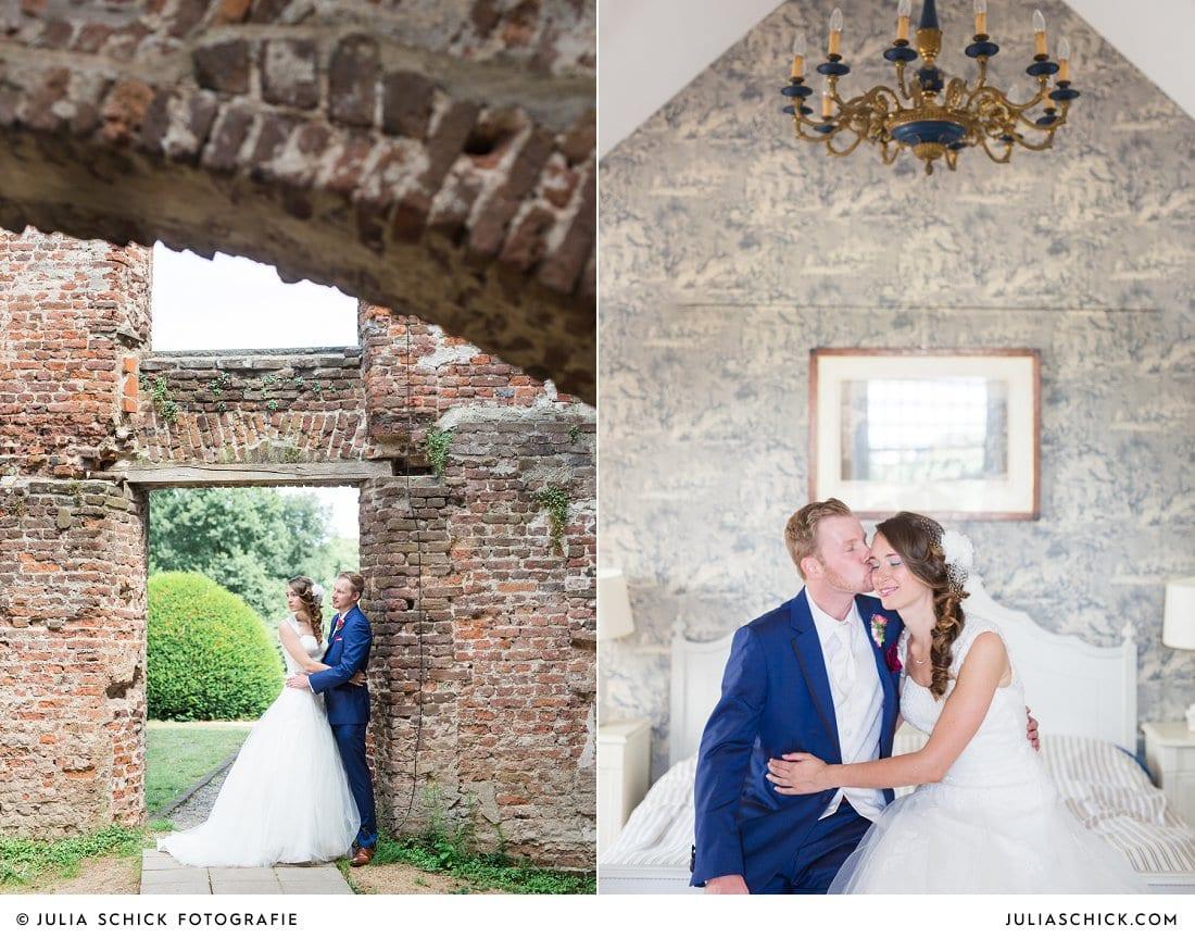 Brautfotoshooting im Turmsalon der Schlossruine Hertefeld in Weeze