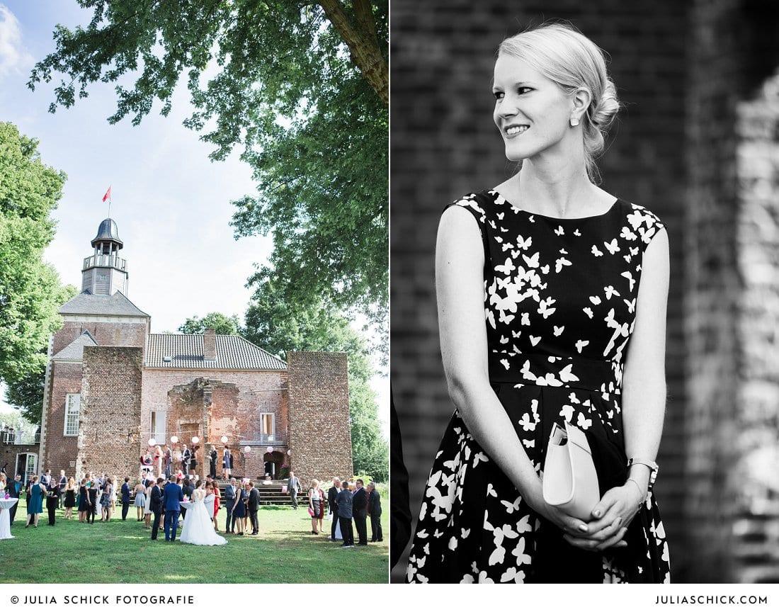Sektempfang bei Hochzeit an der Schlossruine Hertefeld in Weeze