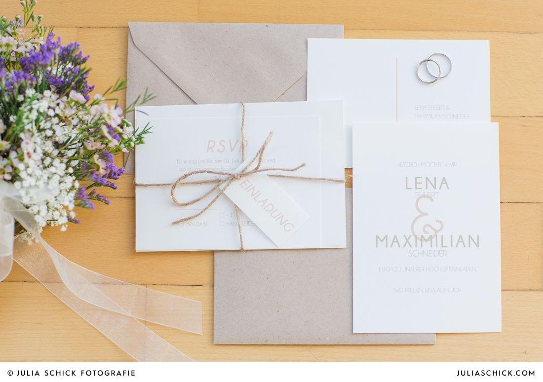 Moderne typogarphische Hochzeitspapeterie