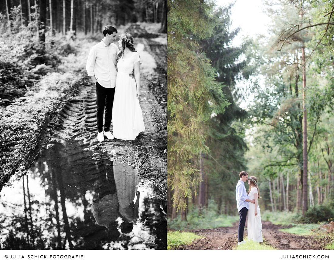 Boho-Brautpaarshooting im Wald in Stadtlohn fotografiert von Hochzeitsfotografin Julia Schick aus Münster