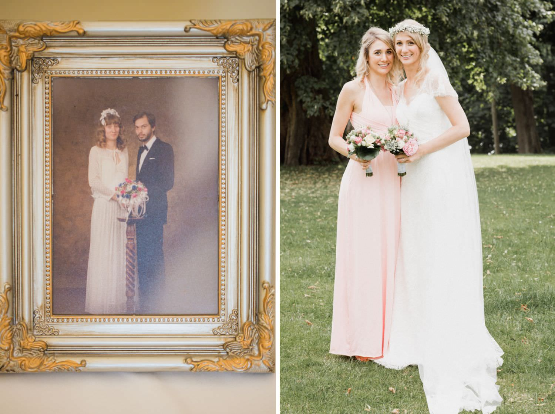 Braut und Brautjungfer in rosa bei Boho-Hochzeit auf Schloss Glücksburg