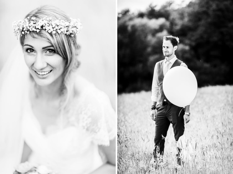Lächelnde Braut mit Boho-Haarkranz bei Hochzeit auf Schloss Glücksburg