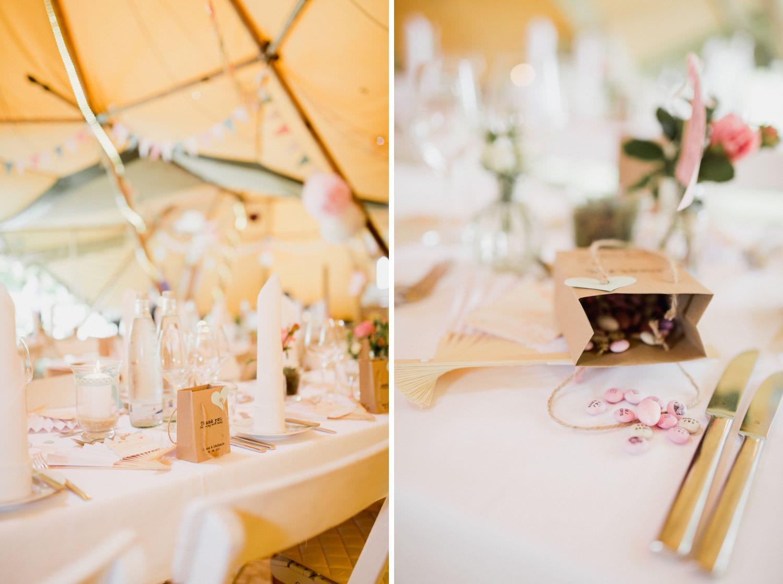 Hochzeitsdekoration bei Hochzeit im Tipi im Boho Stil