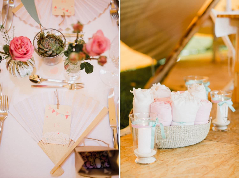 Hochzeitsdekoration und Gastgeschenk im Boho Stil bei Hochzeit im Tipi