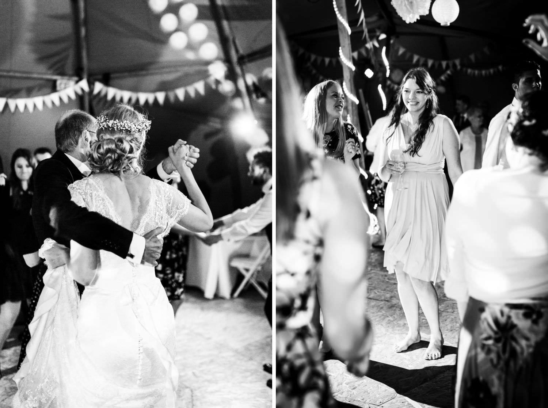 Vater der Braut und seine Tochter tanzen auf Hochzeit
