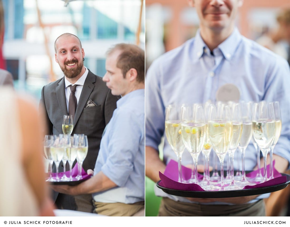 Sektempfang bei Hochzeitsfeiern auf der Terrasse des Factory Hotel in Münster
