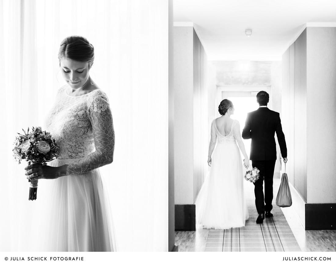 Braut in Hochzeitskleid von Anna Kara in Suite des Factory Hotel in Münster