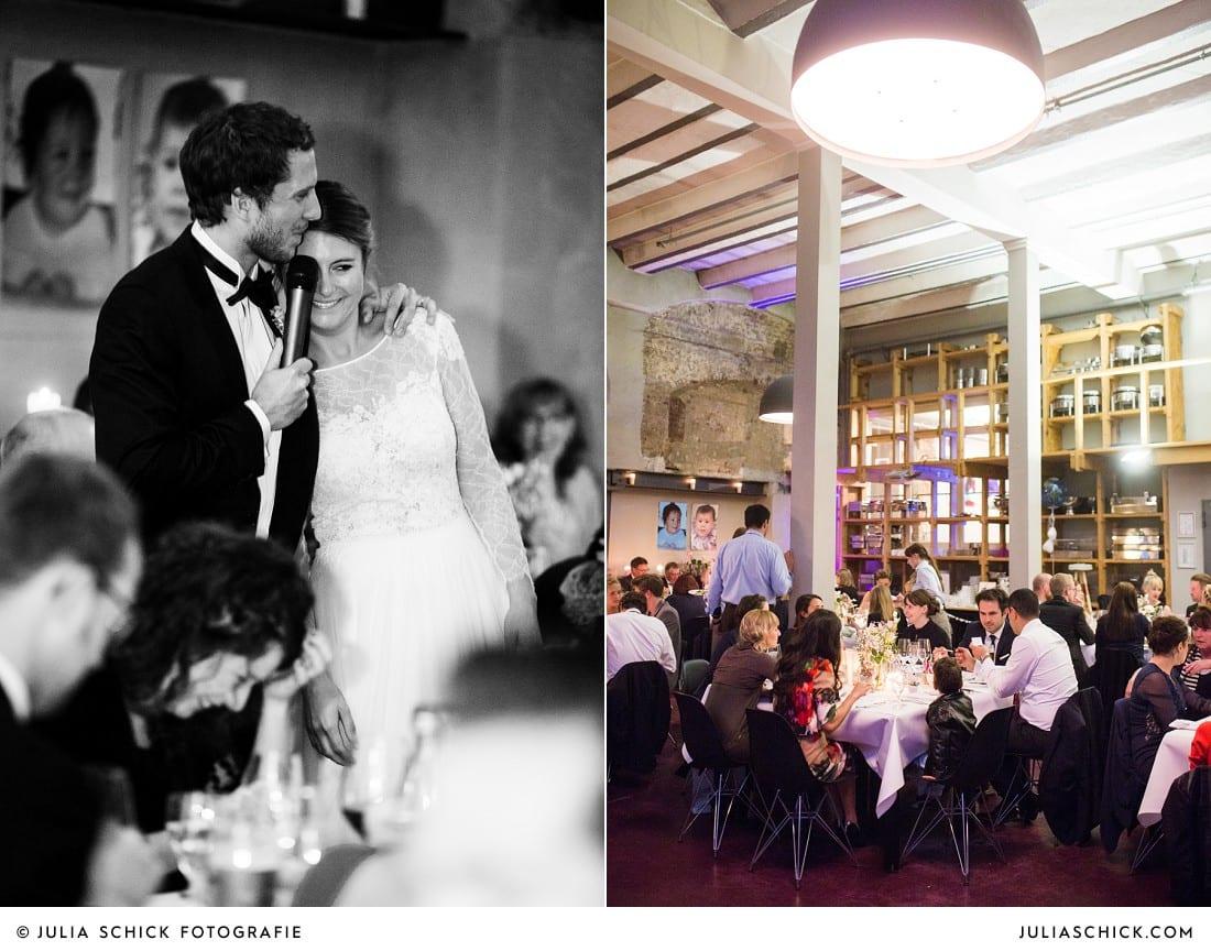 Brautpaar bei Hochzeitesfeier im Restaurant EAT des Factory Hotel in Münster