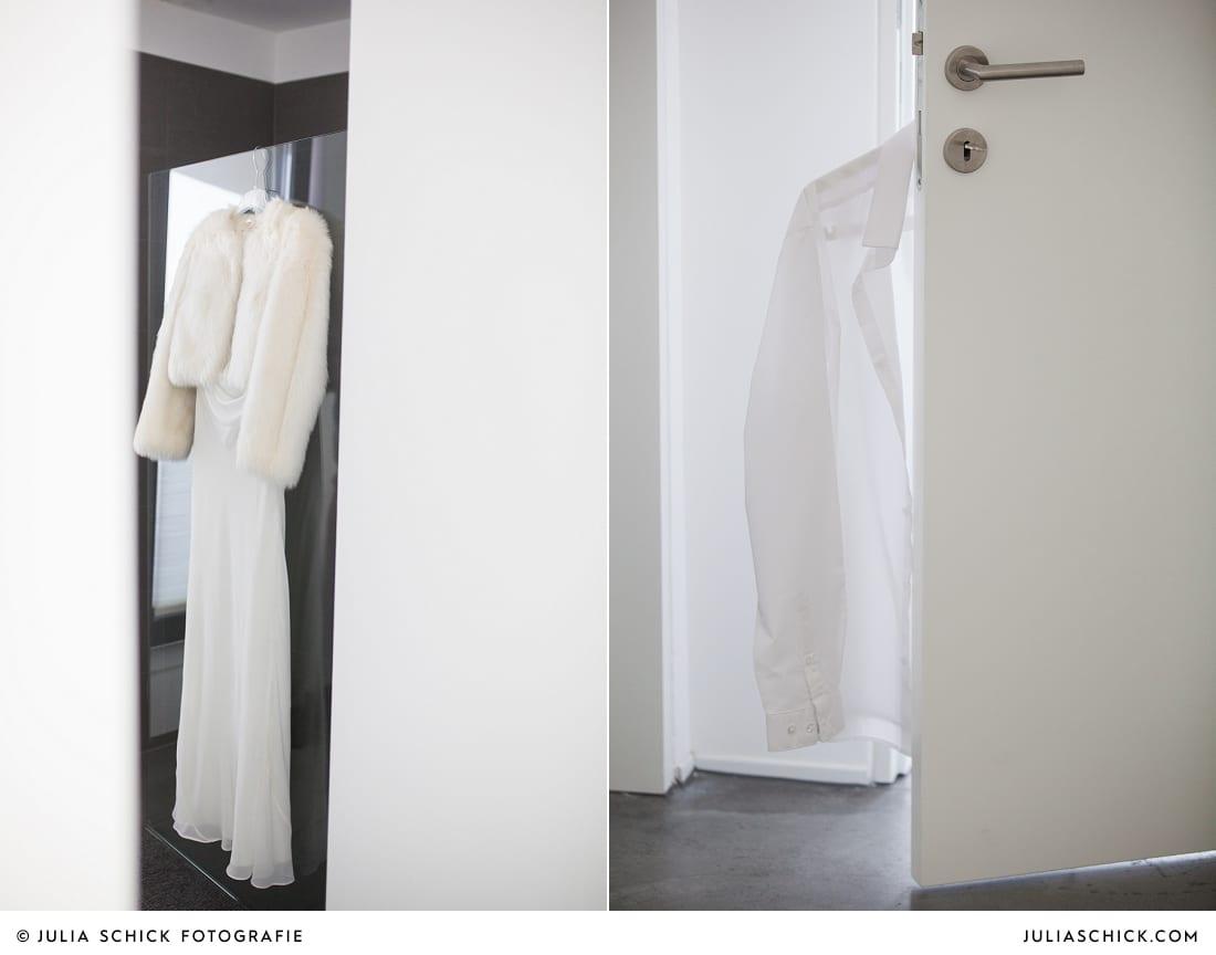 Brautkleid und Hemd des bräutigams