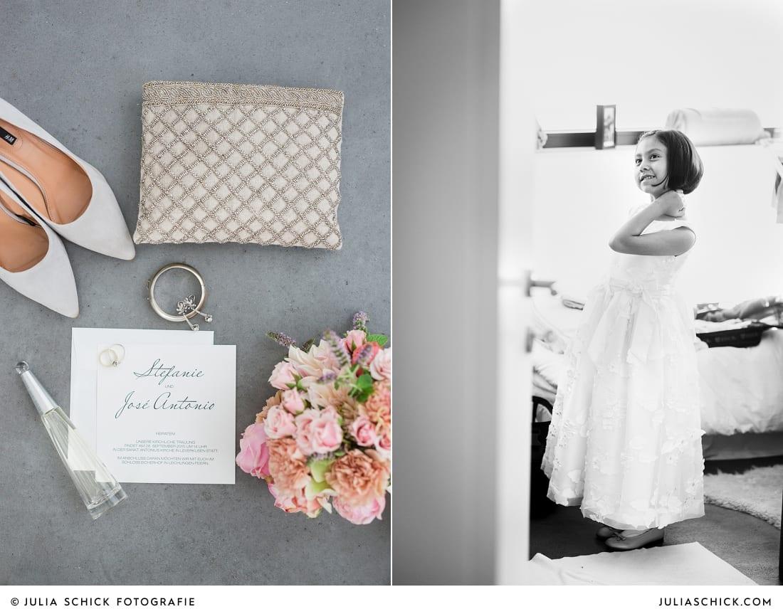 Details beim Gettin Ready der Braut, Blumenkind
