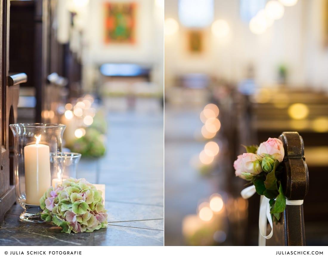 Hochzeitsdekoration in der Sankt Antonius Kirche in Leverkusen Wiesdorf