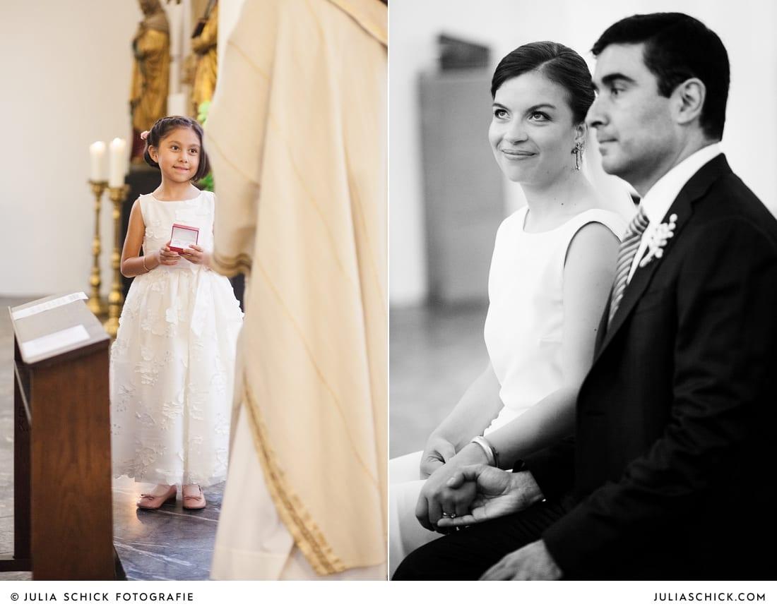 Blumenkind und Brautpaar bei Trauung in der Sankt Antonius Kirche in Leverkusen Wiesdorf
