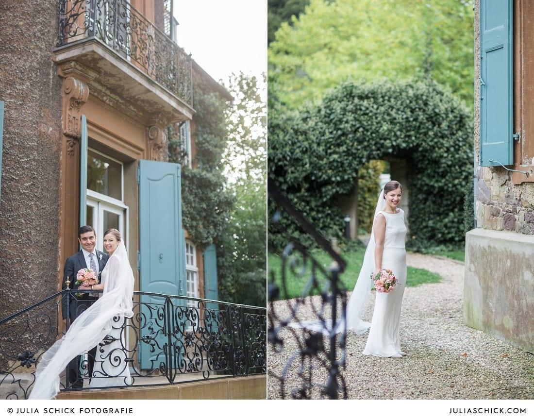 Brautpaar bei Fotoshooting auf Schloss Eicherhof in Leichlingen