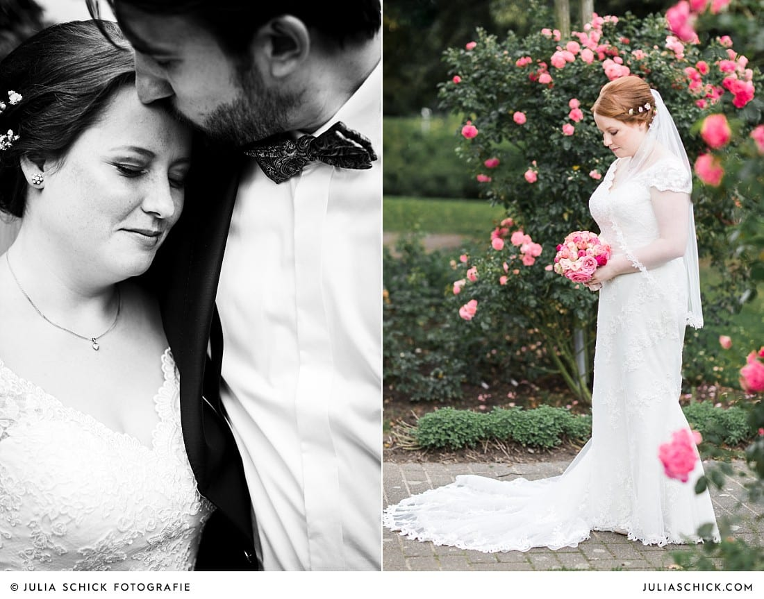 Braut umgeben von rosa Rosen im Rosengarten Seppenrade