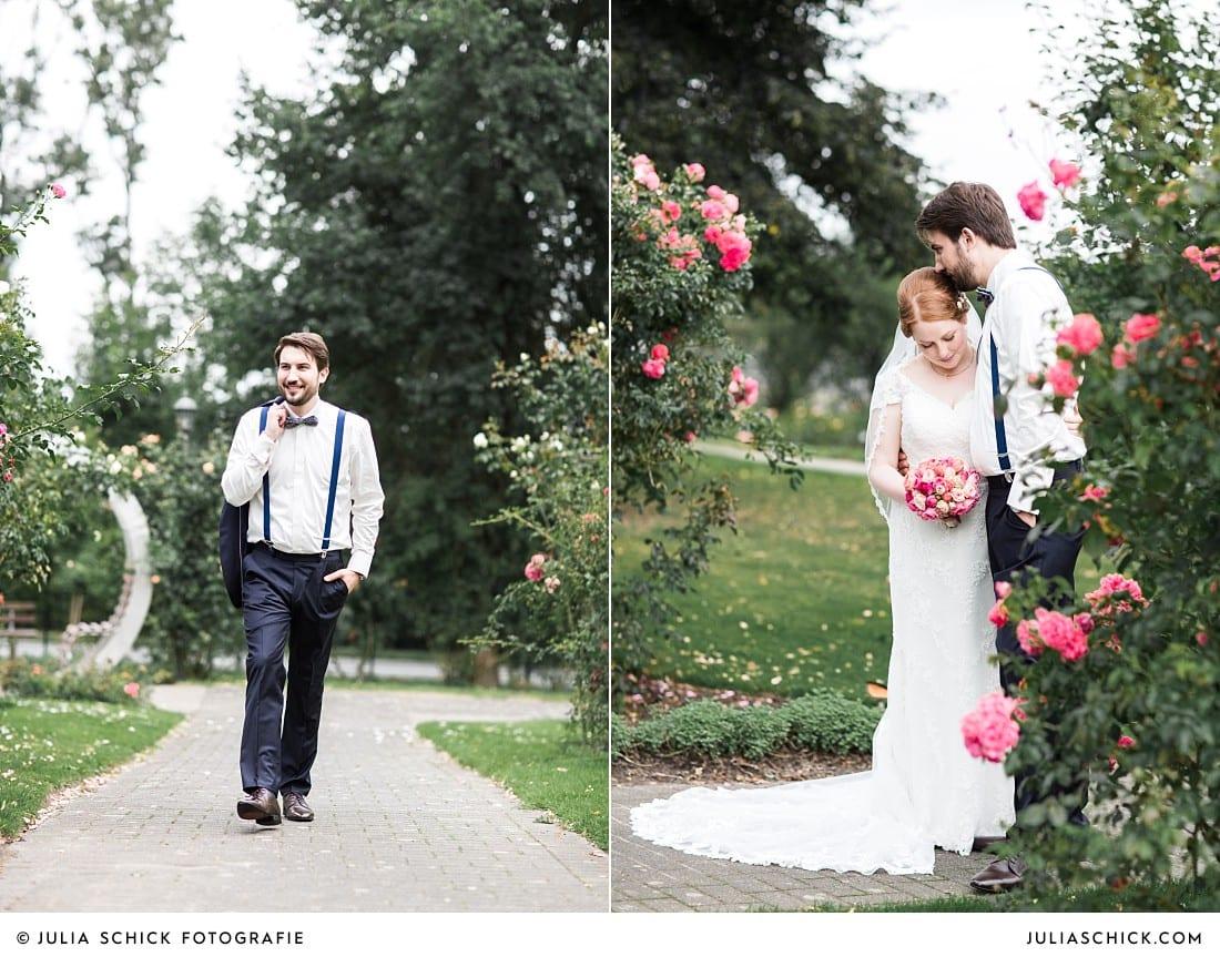 Schmusendes Brautpaar im Rosengarten Seppenrade