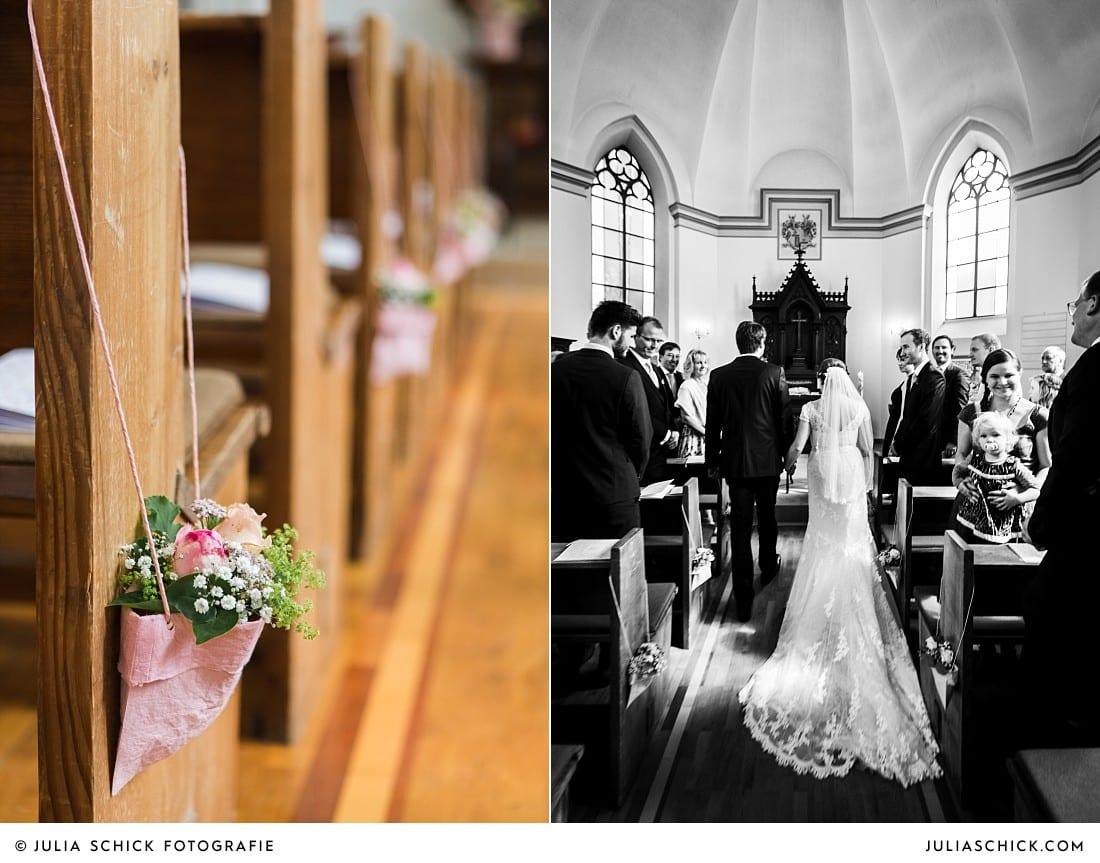 Dekoration und Einzug des Brautpaares in der evangelischen Kirche Lüdinghausen