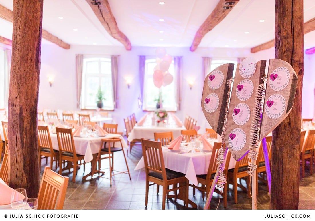 Tischplan bei Hochzeitsfeier auf Frenkings Tenne in Aschberg