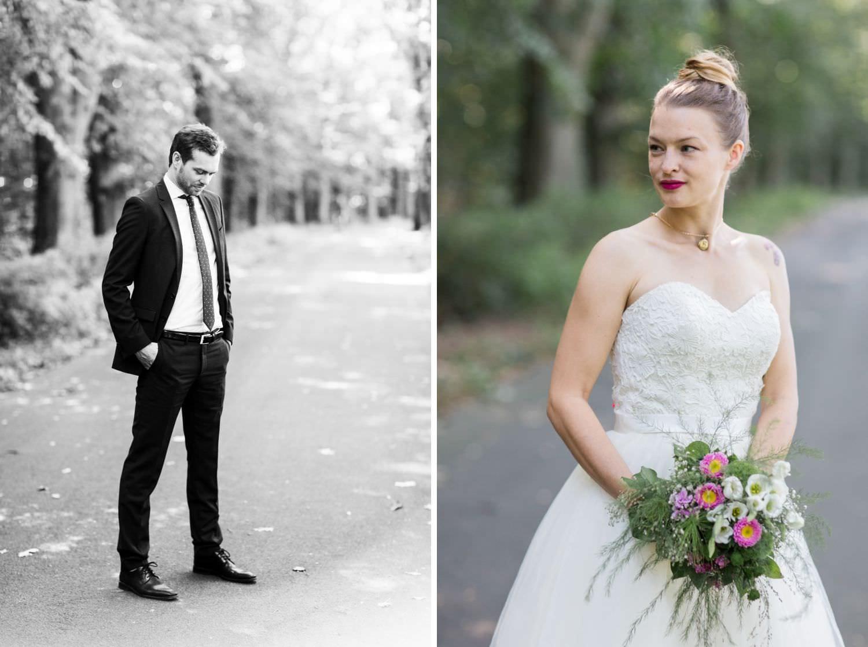 Brautpaar bei Hochzeitsfotoshooting im Wald in Münster