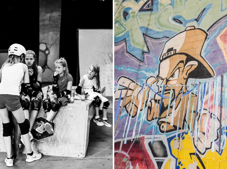 Kinder und Graffiti bei Skaters Palace in Münster