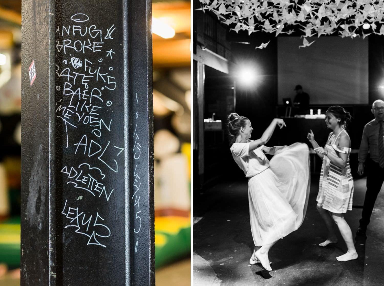 Pfeiler und tanzende Braut unter 1000 Kranichen bei Hochzeitsfeier in Münster